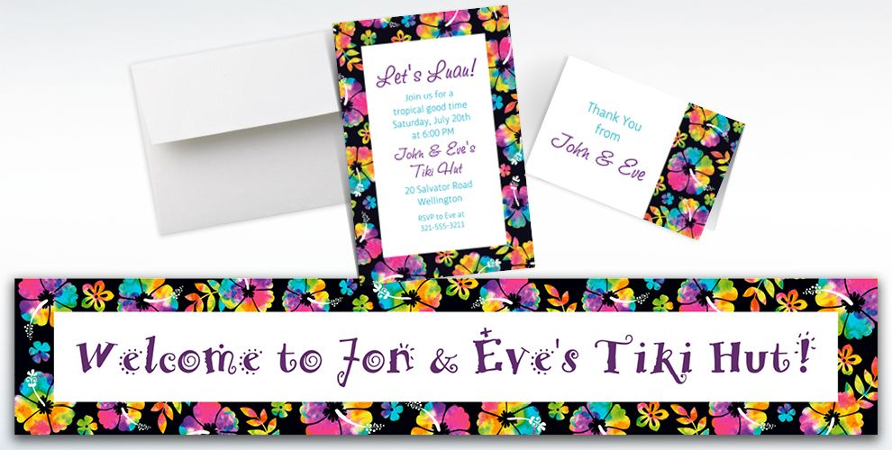 Custom Neon Hibiscus Invitations, Thank You Notes and Banners