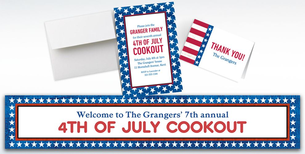 Custom Star Spangled Invitations, Thank You Notes and Banners