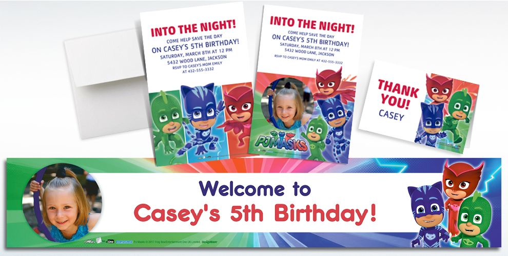Custom PJ Masks Invitations, Thank You Notes and Banners