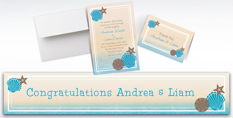 Custom Seashell Beach Invitations, Thank You Notes and Banners