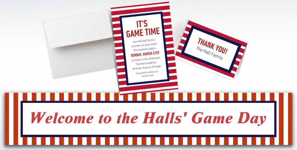 Custom Blue and Red Striped Invitations, Thank You Notes and Banners
