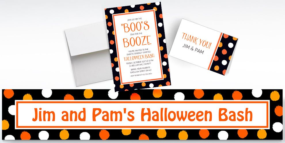 Custom Polka Dot Halloween Invitations, Thank You Notes and Banners