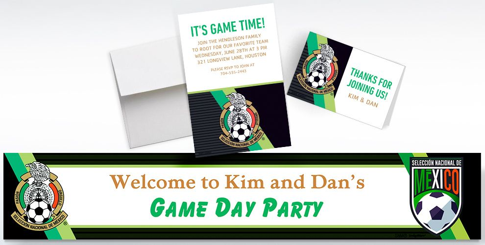 Custom Mexico National Team Invitations, Thank You Notes and Banners