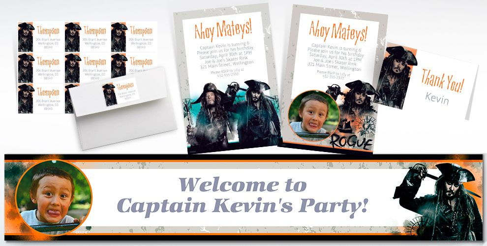 Custom Pirates of the Caribbean Invitations, Thank You Notes and Banners