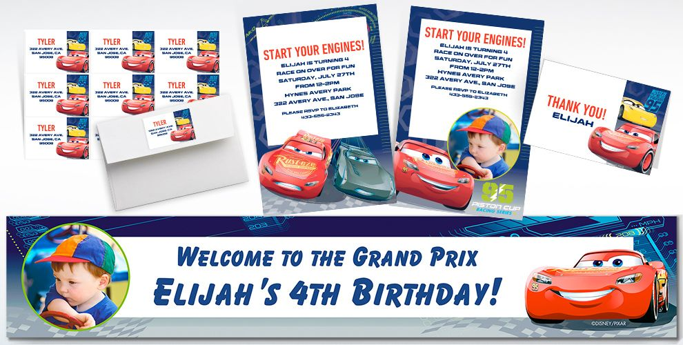 Custom Cars 3 Invitations, Thank You Notes and Banners