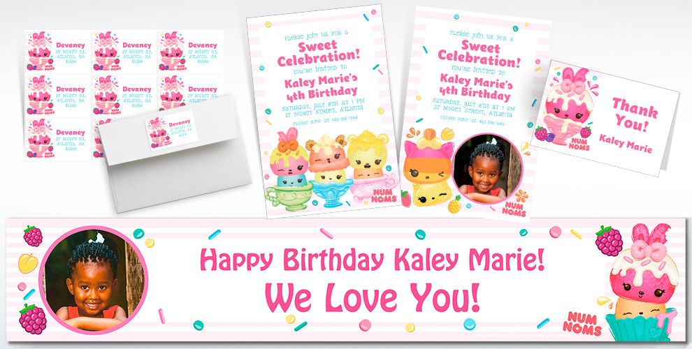 Custom Num Noms Invitations, Thank You Notes and Banners