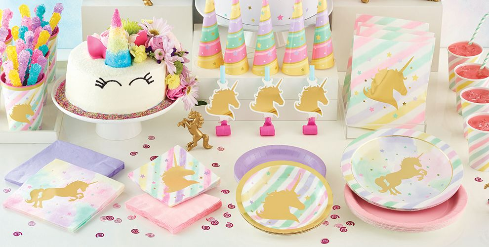 Sparkling Unicorn 1st Birthday Party Supplies