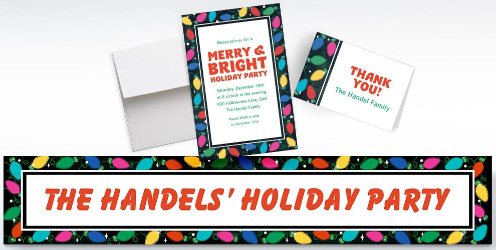 Custom Holiday Twinkle Lights Invitations, Thank You Notes and Banners