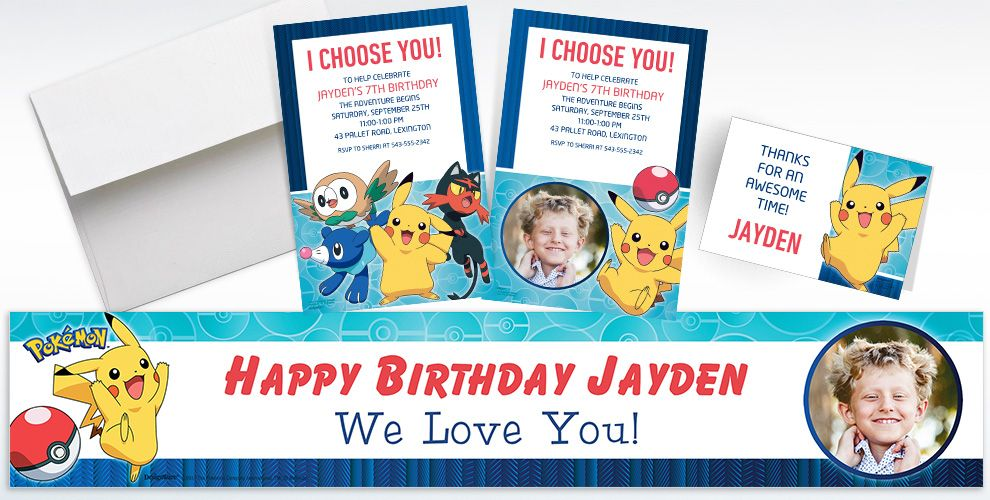 Custom Pokemon Core Invitations, Thank You Notes and Banners