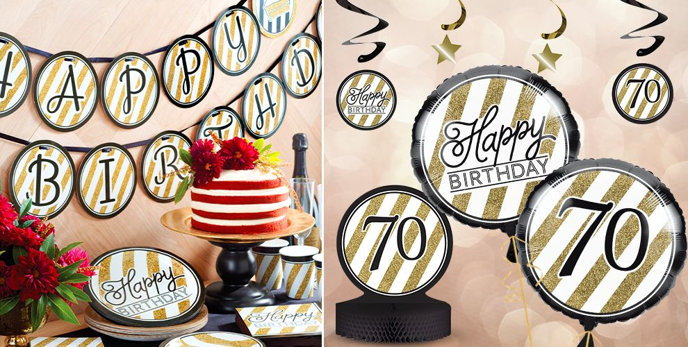White and Gold Striped 70th Birthday Party Supplies