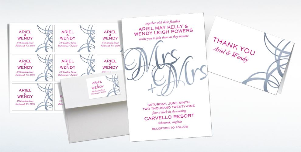 Custom Mrs. & Mrs. Wedding Invitations, Thank You Notes & Banners