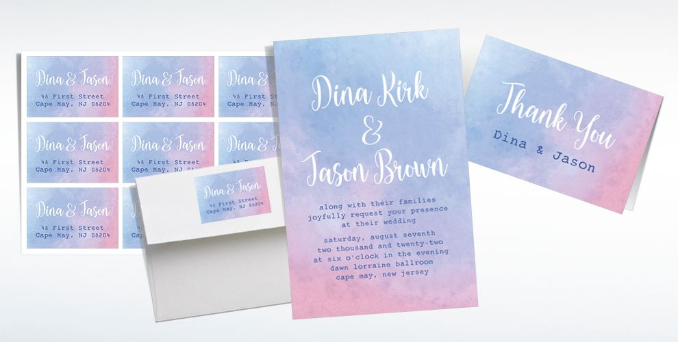 Custom Serene Watercolor Wedding Invitations, Thank You Notes & Banners