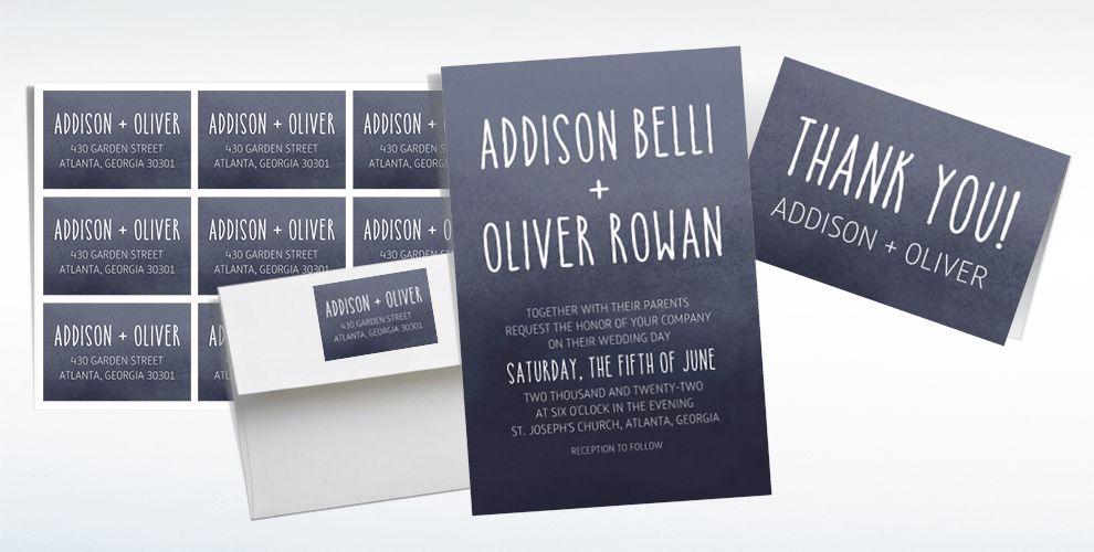 Custom Black Watercolor Ombre Wedding Invitations, Thank You Notes & Banners