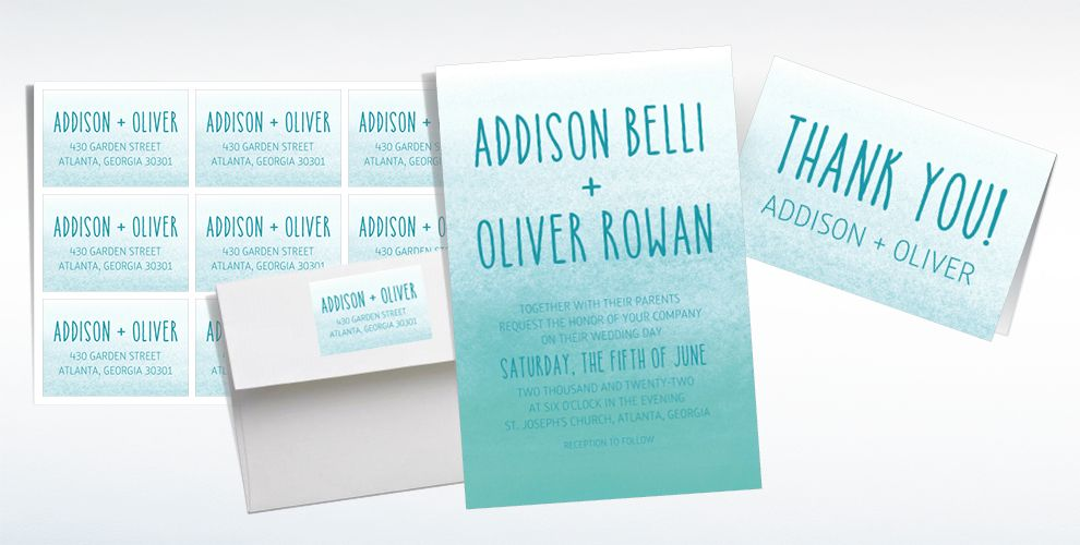 Custom Mint Watercolor Ombre Wedding Invitations & Thank You Notes