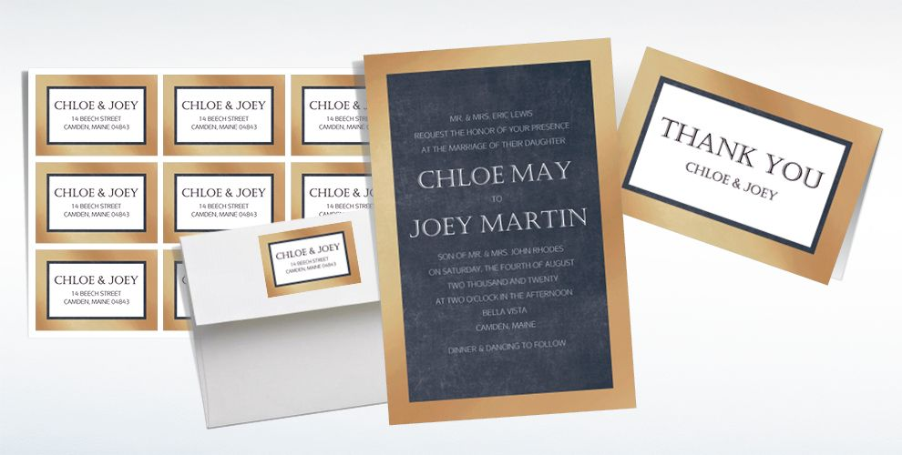 Custom Gold Border Wedding Invitations & Thank You Notes