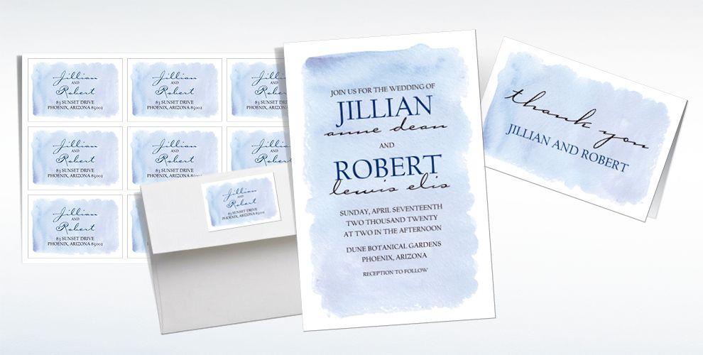 Custom Blue Watercolor Wedding Invitations & Thank You Notes