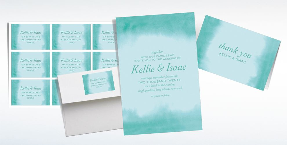 Custom Soft Mint Watercolor Wedding Invitations & Thank You Notes