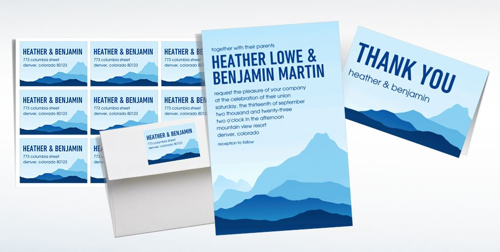 Custom Mountain View Wedding Invitations & Thank You Notes