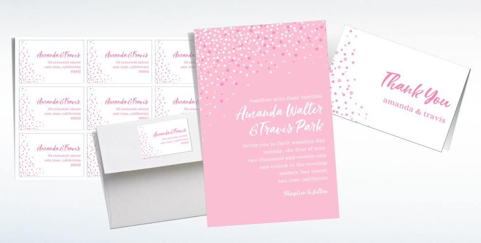 Custom Blush Champagne Bubbles Wedding Invitations & Thank You Notes