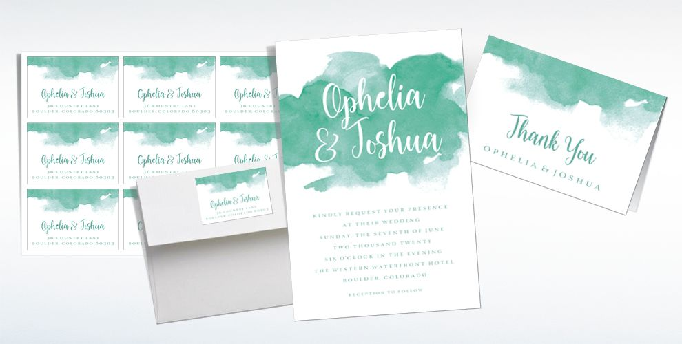 Custom Green Watercolor Cloud Wedding Invitations, Thank You Notes & Banners