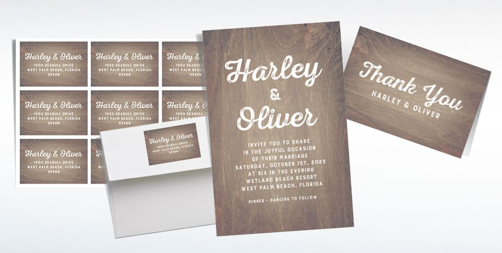 Custom Sepia Wood Wedding Invitations & Thank You Notes