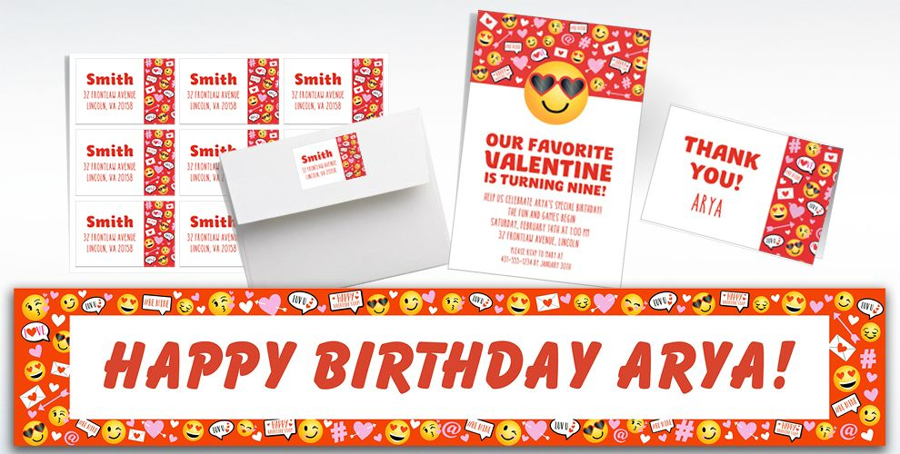 Custom Valentine Smiley Invitations, Thank You Notes & Banners