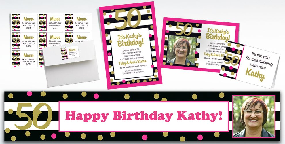 Custom Pink & Gold Confetti 50 Invitations, Thank You Notes & Banners