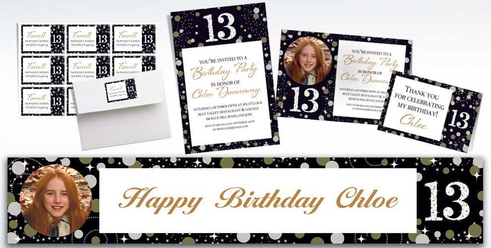 Custom Sparkling Celebration 13 Invitations, Thank You Notes & Banners