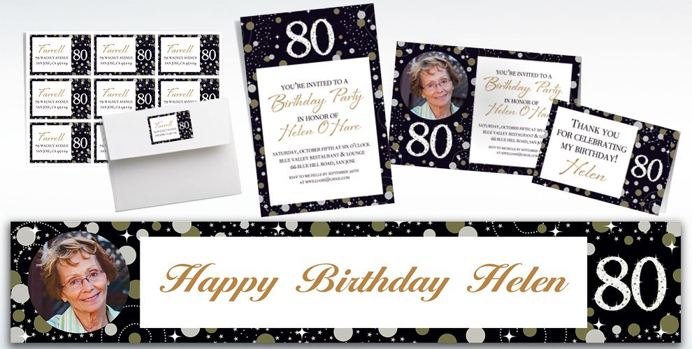 Custom Sparkling Celebration 80 Invitations, Thank You Notes & Banners