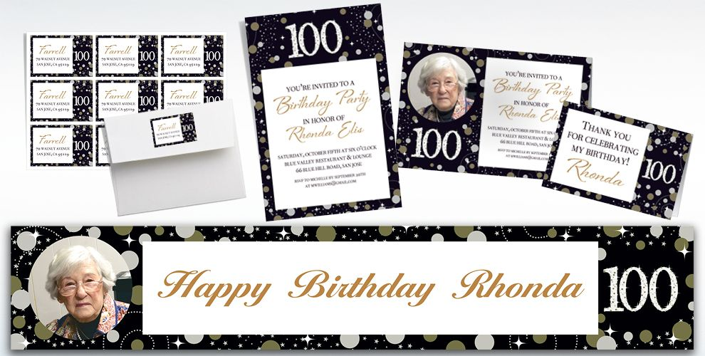 Custom Sparkling Celebration 100 Invitations, Thank You Notes & Banners
