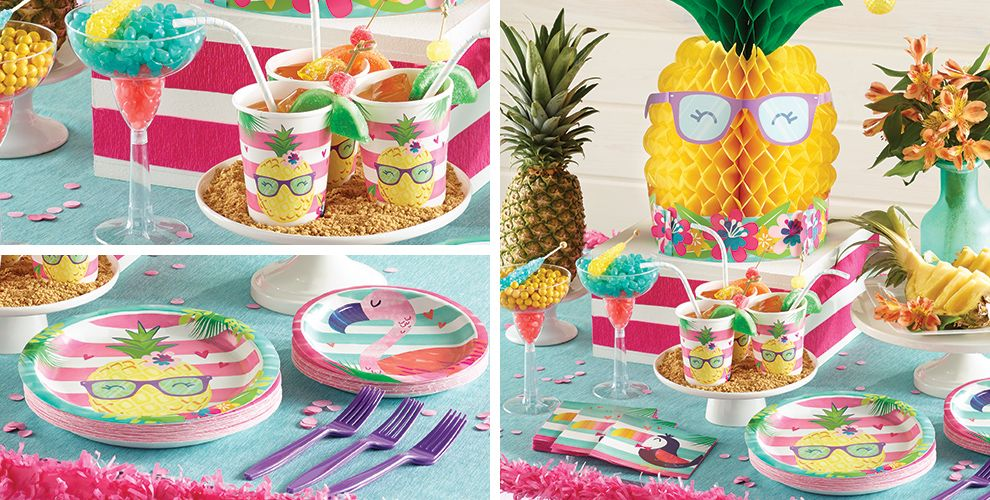 striped tropical party supplies tropical theme birthday party party city canada. Black Bedroom Furniture Sets. Home Design Ideas