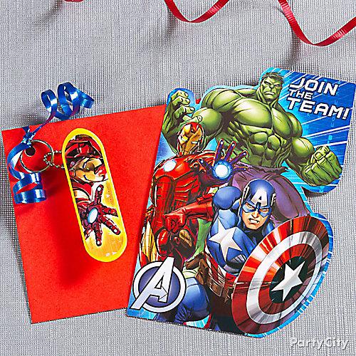 Avengers Invite with Favor Idea