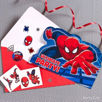 Spider Man Invite with Surprise Idea Invitation and Thank You
