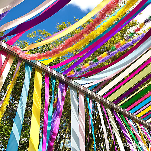 Colorful Streamers Canopy Idea