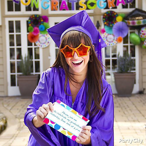 Colorful Custom Grad Party Invites Idea Colorful Graduation Party - Graduation party invitations ideas