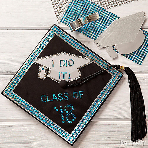 Black & Silver I Did It Grad Cap DIY