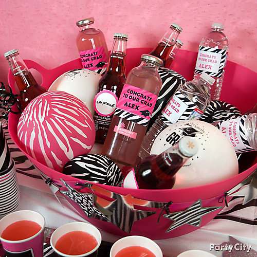 Zebra Balloon Bucket and Personalized Drink Label Idea