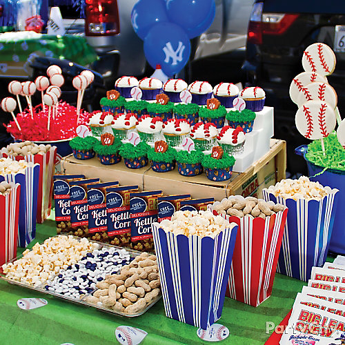 baseball tailgating table idea homerun baseball party ideas