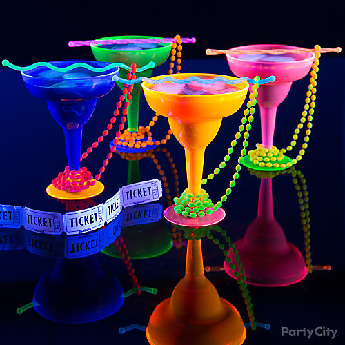 Black Light Beaded Drinks Idea