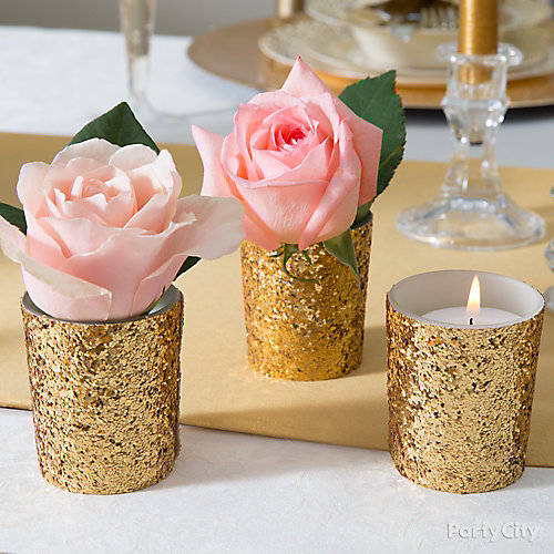 gold wedding cake toppers party city gold glam floral centerpiece idea city 14839