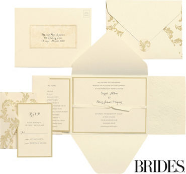 Printable wedding invitations invitation kits party city gold damask printable wedding invitations kit 30ct stopboris