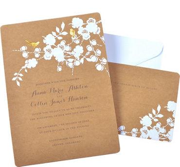 Kraft Bird Printable Wedding Invitations Kit 50ct