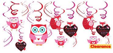 woodland friends happy valentines day swirl decorations 12ct
