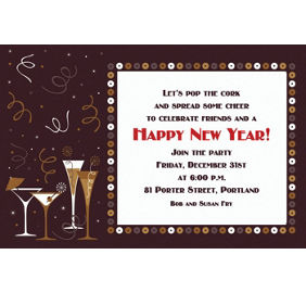 custom lets toast new years invitations