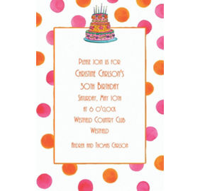 Custom girly cake birthday invitations party city custom girly cake with dots birthday invitations filmwisefo