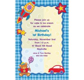 Custom Hugs Stitches Boy Birthday Invitations