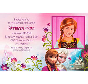 Frozen party supplies frozen birthday party ideas party city custom frozen photo invitations filmwisefo Images