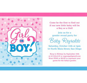 custom girl or boy gender reveal thank you note party supplies