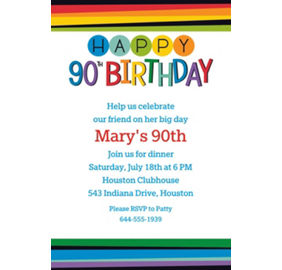 Custom Rainbow 90th Birthday Invitation