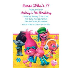 custom trolls photo invitation party supplies party city